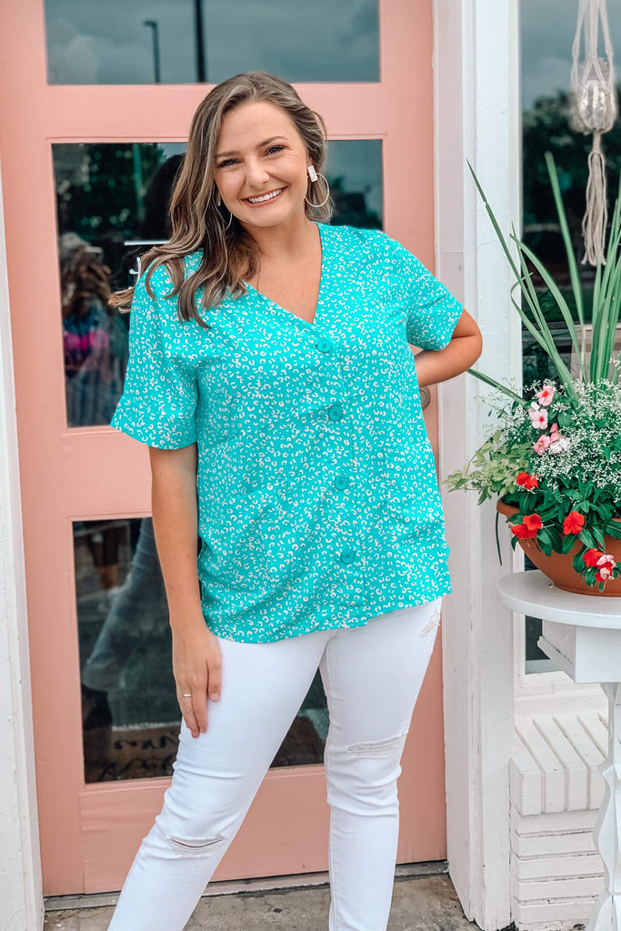 Better Than Great Leopard Top- Mint - shoptheexchange