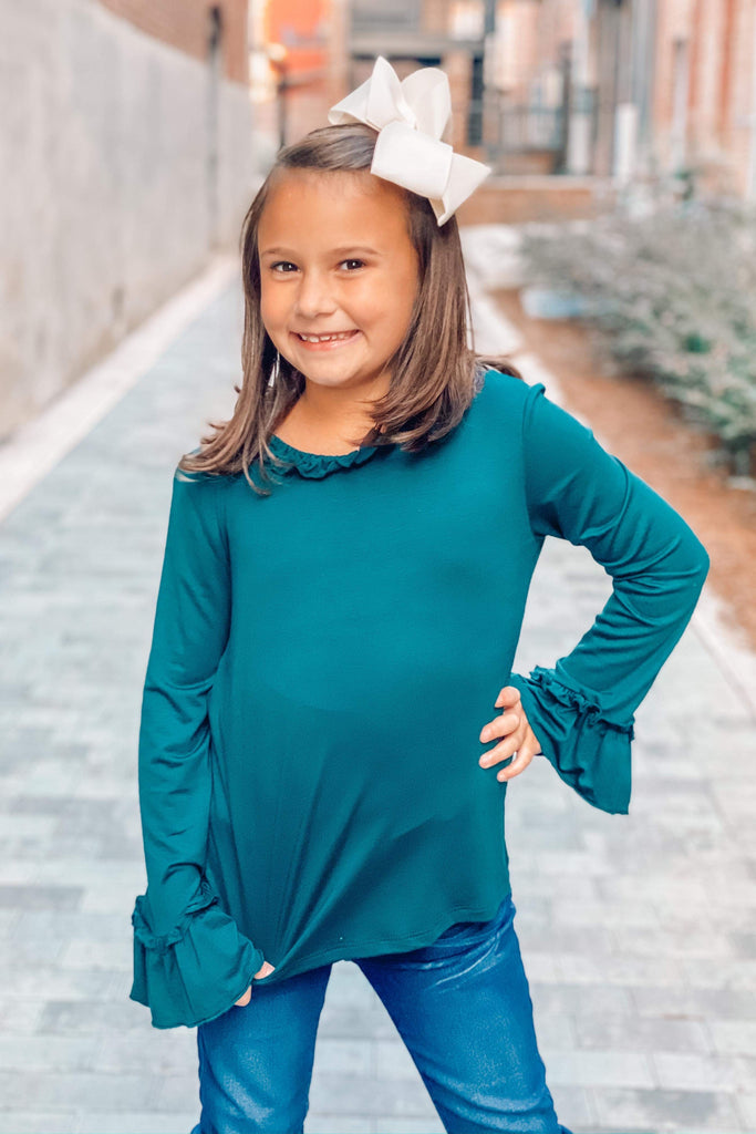 Poised Perfection Hunter Green Ruffle Neck Top