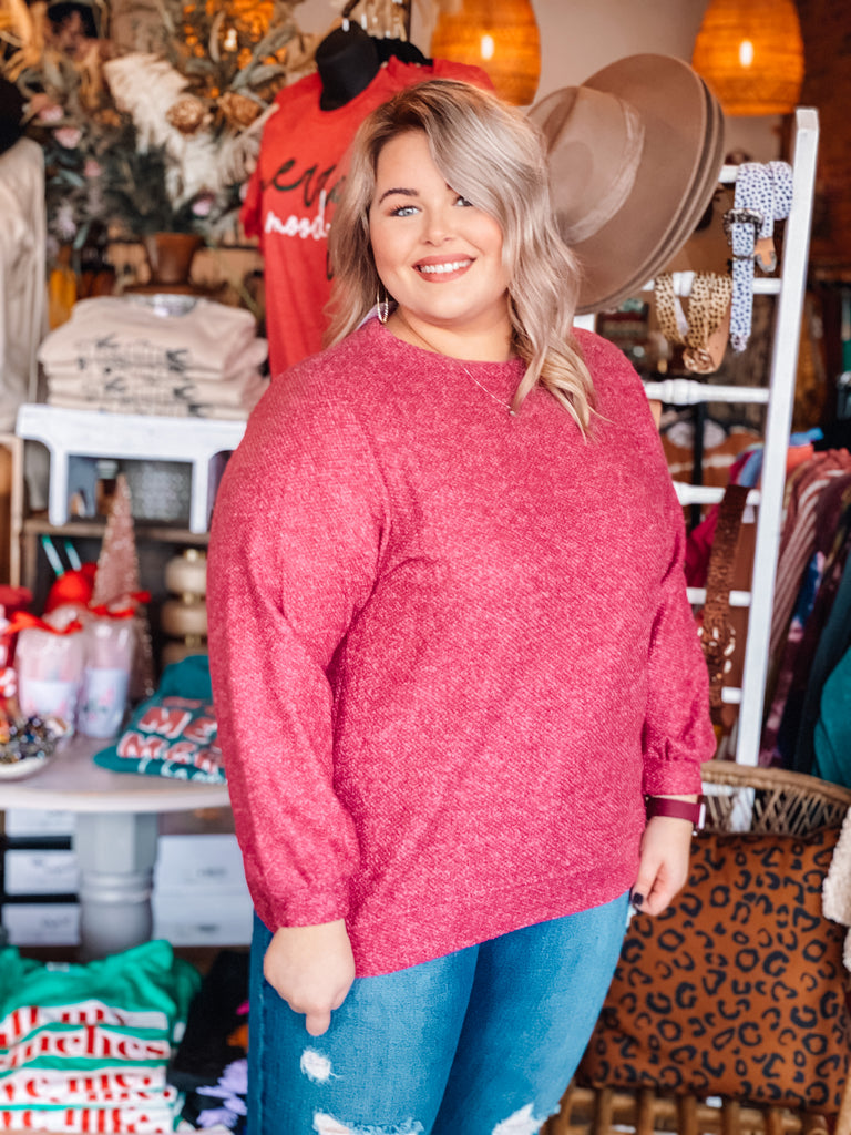 Plus Size Solid Light Knit Top - Magenta