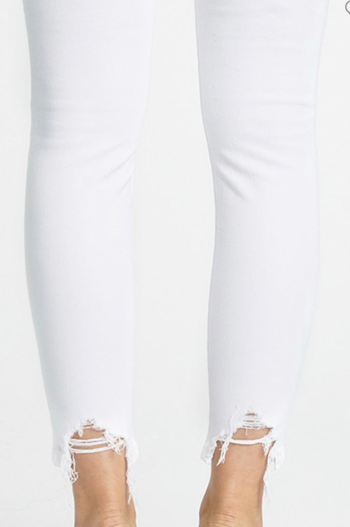 White Eunina Josie Distressed Cropped Skinnies