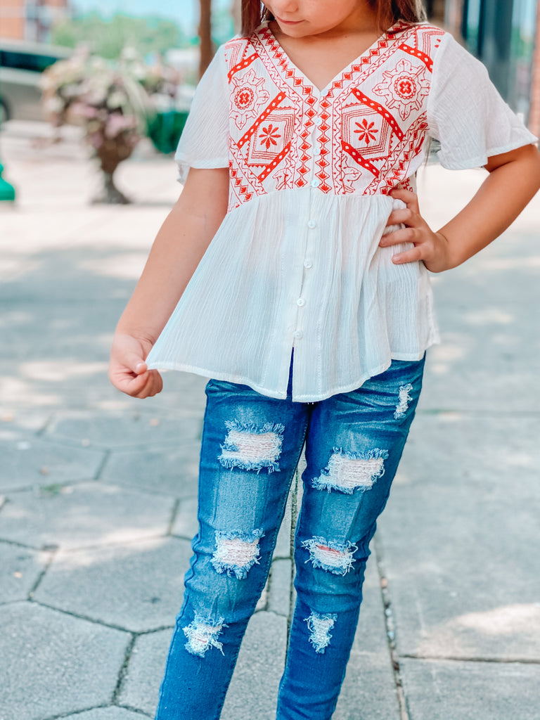 My Point Exactly Off White Embroidered Peplum Top