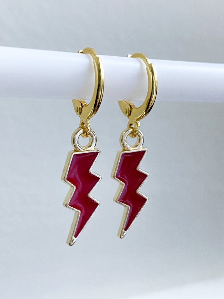 Red Lightning Bolt Huggie Earrings