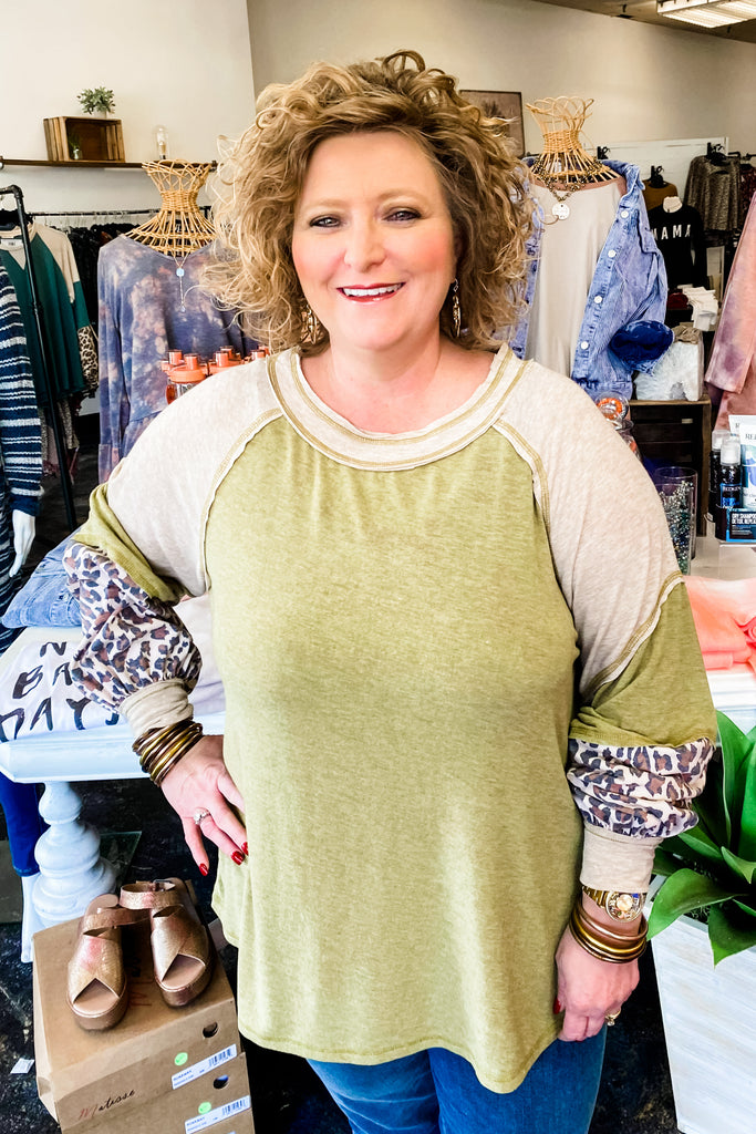 Take Me Along Olive PLUS Top