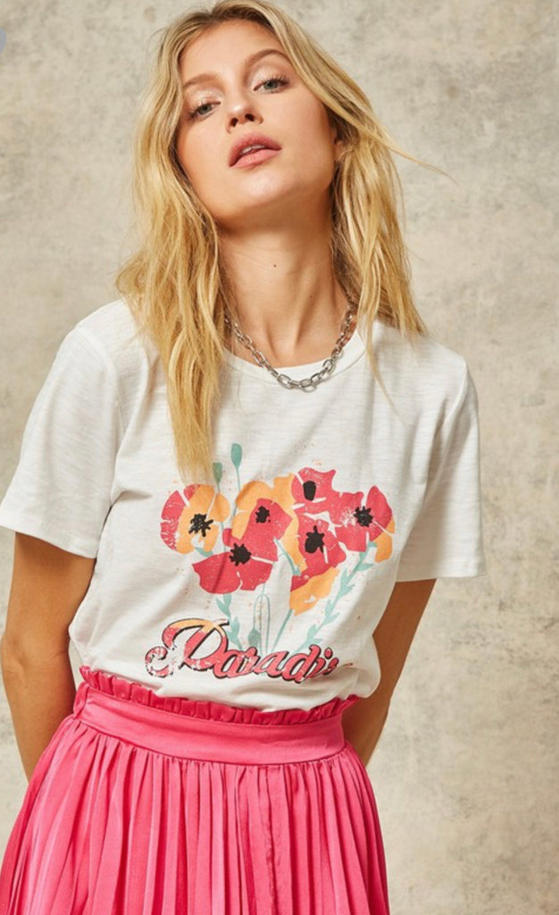 Paradise Vintage Graphic Top- White