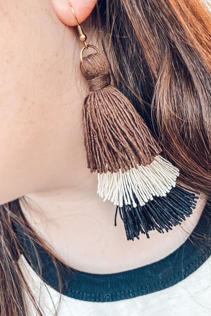 Natural Trio Tassel Earrings