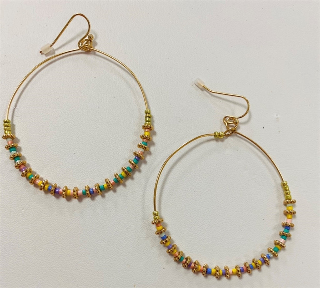 Gold and Light Multi Crystal hoop earring