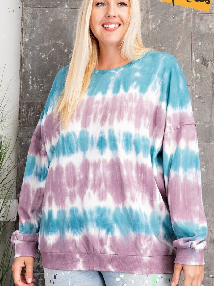 Terry Ombre Pullover plus size top