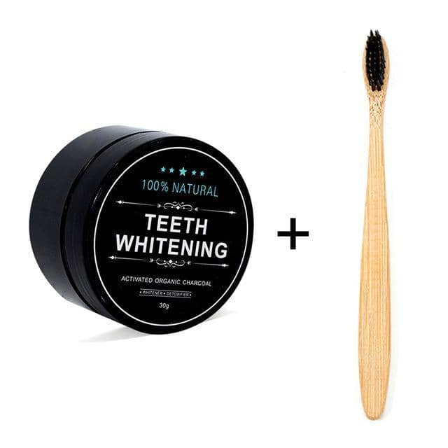 Activated Charcoal Teeth Whitening Powder + Bamboo Toothbrush