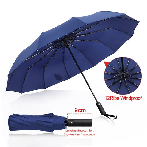 Strong Wind Resistant 3Folding Automatic Umbrella Men Parasol Women Rain 12Ribs Large Umbrellas Business Gift Portable Paraguas