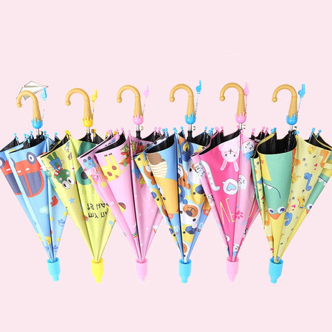 Umbrella Kids Lovely Rain Sun Umbrellas Cartoon Unicorn Umbrella Children Rainbow Umbrellas Semi Automatic