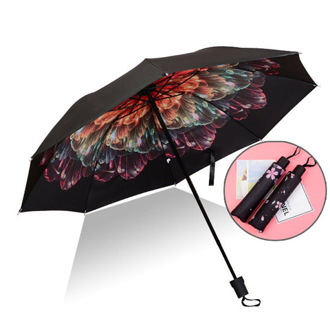 Top Quality Umbrella Men Rain Woman Windproof Large Paraguas 3D Flower Print Sunny Anti-sun 3 Folding Umbrella Outdoor Parapluie
