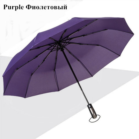 Wind Resistant Three Folding Automatic Umbrella Rain Women Auto Luxury Big Windproof Umbrellas Men Frame Windproof 10K Parasol