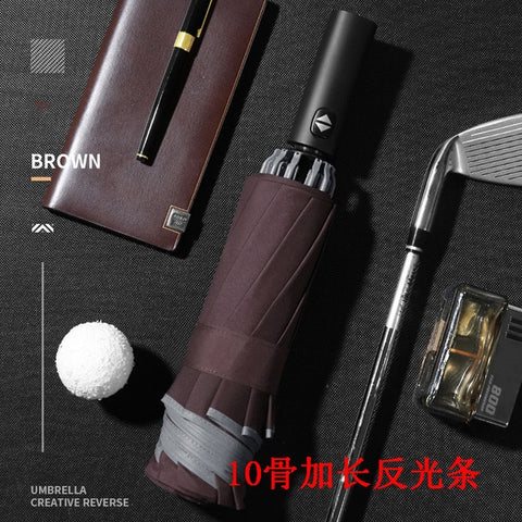 VIP Drop Shipping Men's Automatic Car Umbrella Foldable Windproof With Flashlight Business Umbrella Creative LED Light