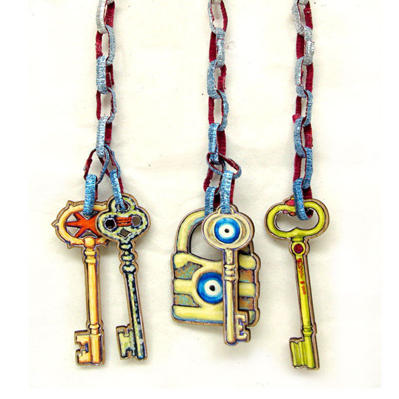 Keys - Evil Eye and Star Lock and Key Tags