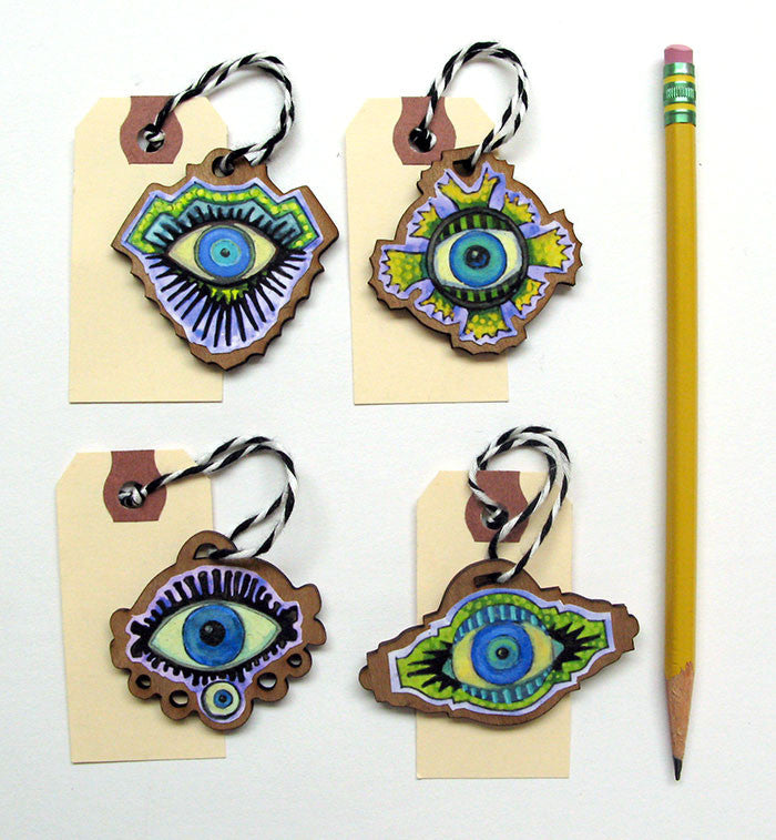 Evil Eyes Gift Tags, Ornaments Set 2