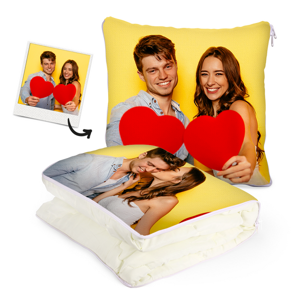 "Custom Couple Photo Quillow - Multifunctional Throw Pillow and Quilt 2 in 1 - 47.25""x55.10"""
