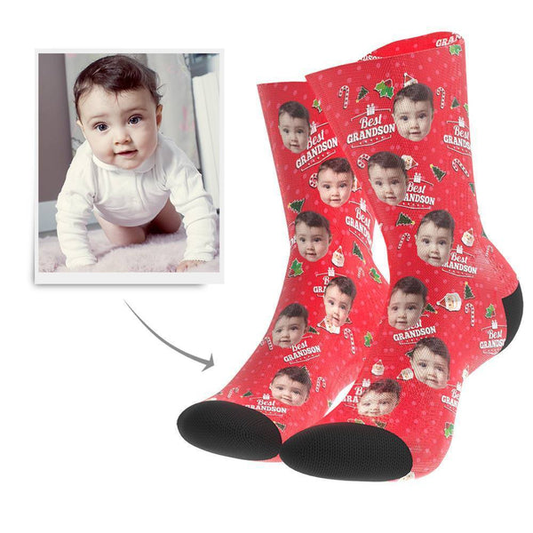 Christmas Gift Custom Face Socks (Grandson) - MyFaceBoxer