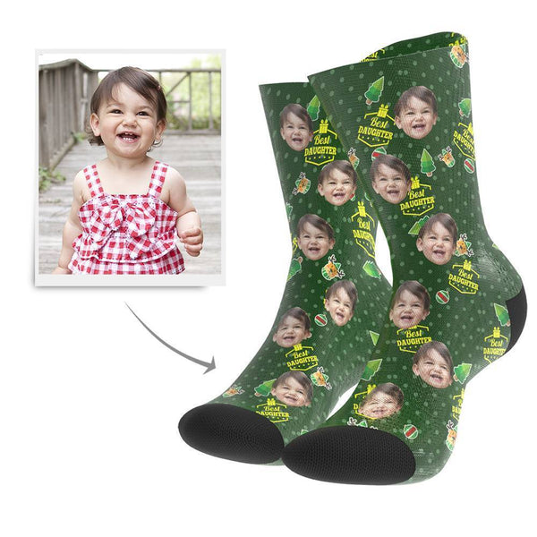 Christmas Gift Custom Face Socks (Daughter) - MyFaceBoxer