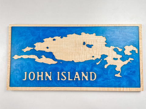 Custom Wall Art - Epoxy Resin Coastline Board (Lake/Island)