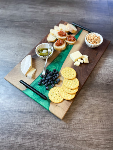 Large Personalized Black Walnut & Epoxy Live Edge Serving Board With Handles (Custom Order)