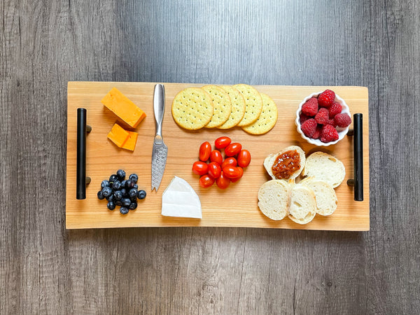 Personalized American Cherry Double Live Edge Serving Board