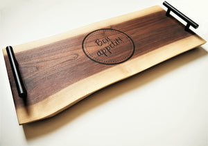 Personalized Black Walnut Double Live Edge Serving Board