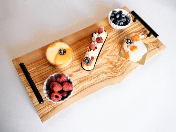 Rustic Double Live Edge Italian Olive Wood Charcuterie Board
