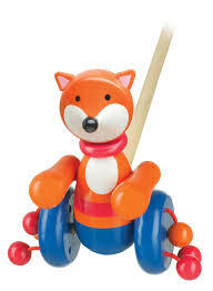 Push Along Toy Wooden - Fox