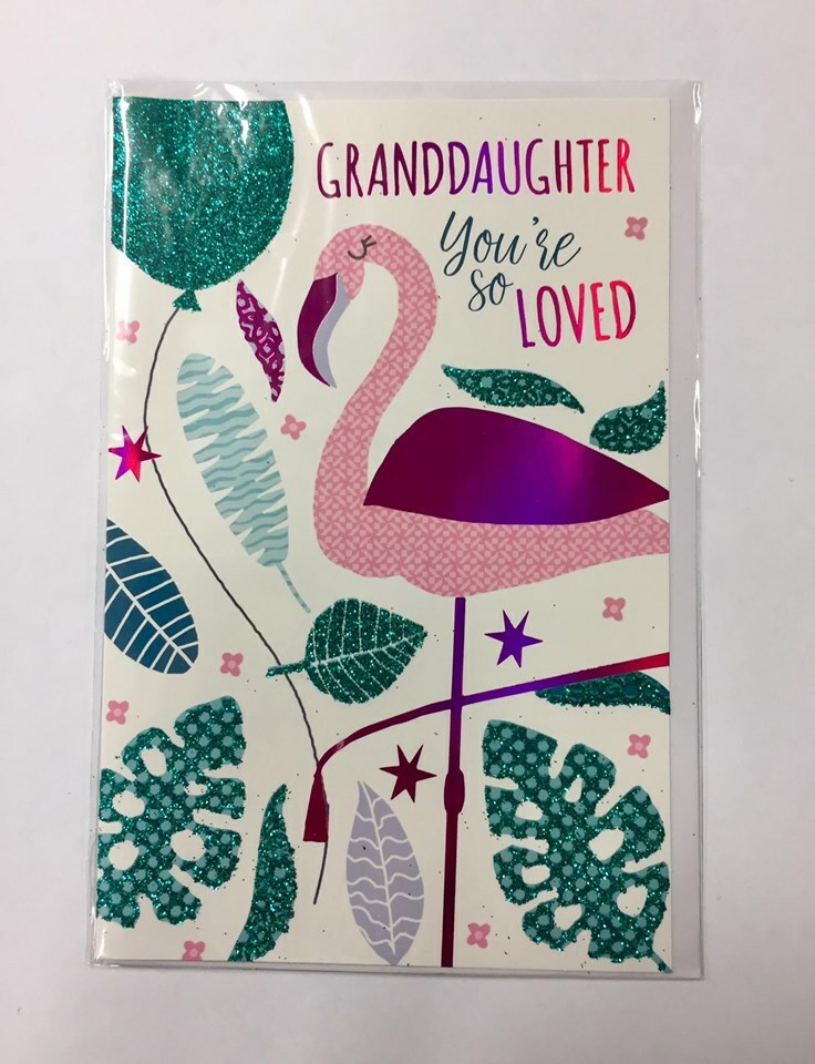 Card| Caption Birthday Granddaughter Flamingo