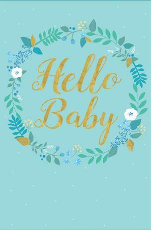 Card Caption Hello Baby | Boy floral