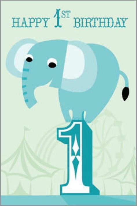 Card| Birthday Age 1 Boy Elephant