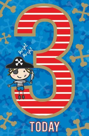 Card| Birthday Age 3 Boy Pirate