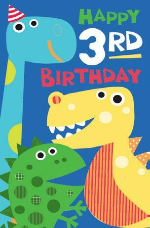 Card| Birthday Age 3 Boy Dino
