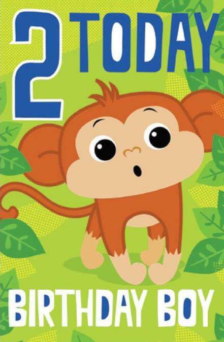 Card| Birthday Age 2 Boy Monkey