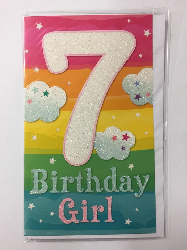Card| Birthday Age 7 Female Rainbow sparkly