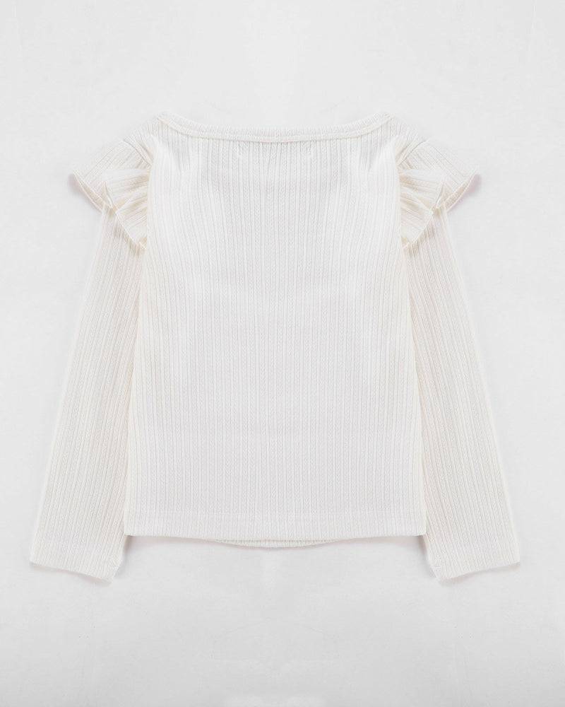 FLUTTER LONG SLEEVE TOP RIBBED IN IVORY | Alfaberry - W20