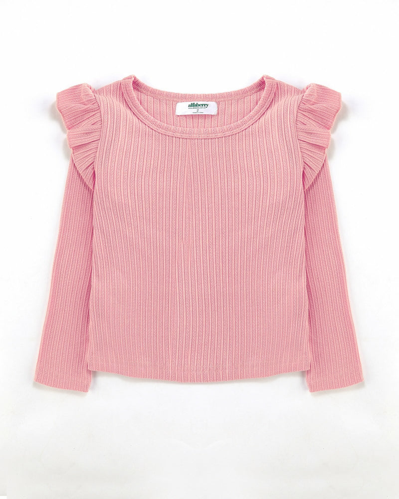 FLUTTER LONG SLEEVE TOP RIBBED IN PINK | Alfaberry - W20