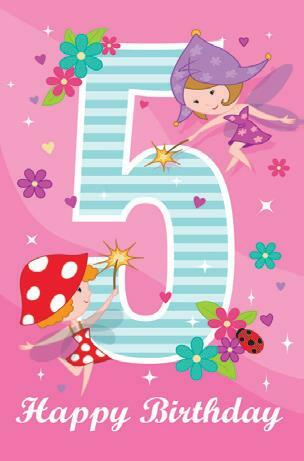 Card| Birthday Age 5 Female | Fairies