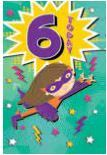 Card | Birthday Age 6 Female 6 Today - Super Girl Comic