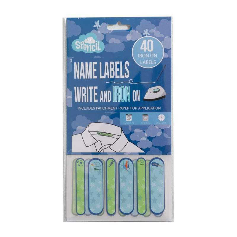 Spencil | Write & Iron On Name Labels 40pk -Blue