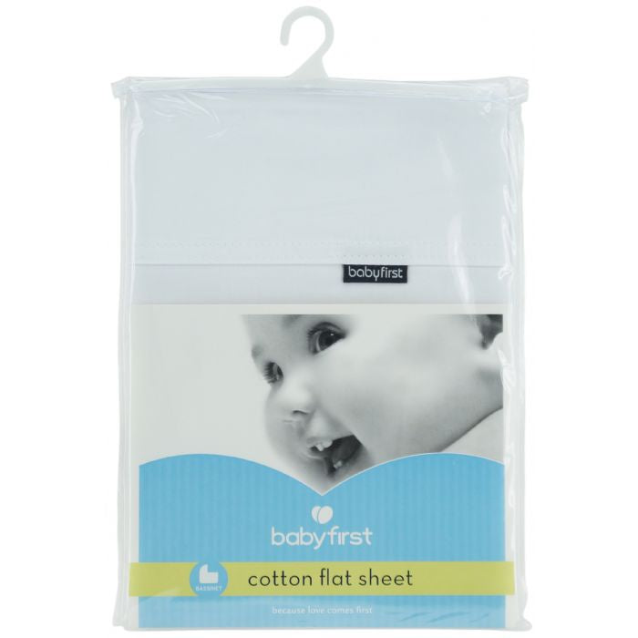 BABY FIRST cotton bassinet flat sheet - white