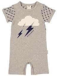 Korango | Lightning Bolts – Short Sleeved Romper – Grey