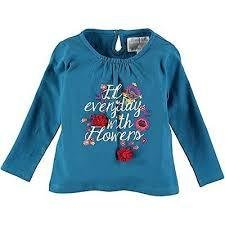 Rockin- Baby Girls Teal Flower Embroidered Tee