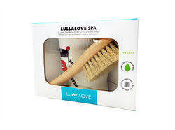 Lullalove Natural Bristle Hair Brush with Washcloth - Crowns