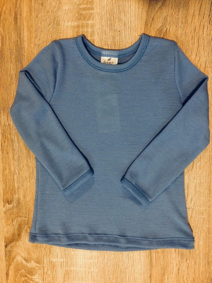 Fernz | merino Long sleeve Round Neck Top Light Blue