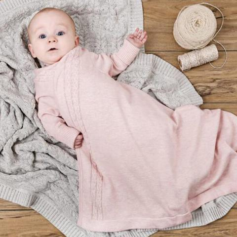 JUJO Baby 100% Cotton Knit Cable Edge Shwrap - Pink