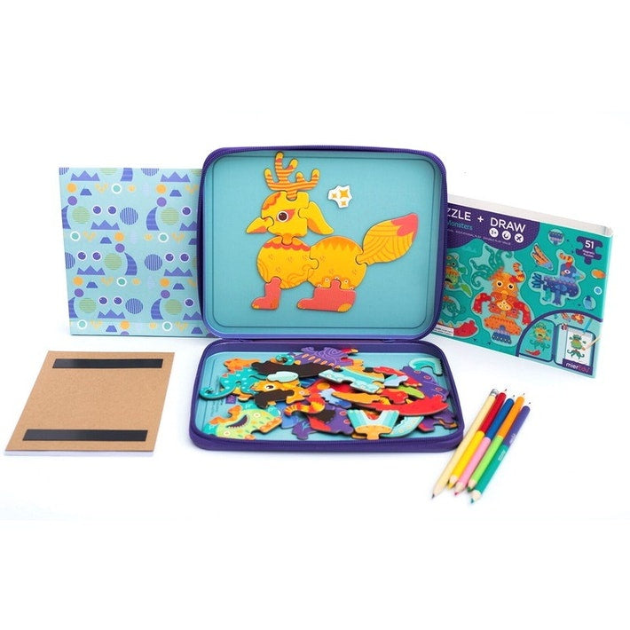 Puzzle & Draw Magnetic Kit - Crazy Monsters