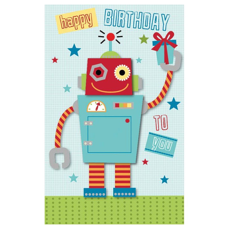 Card Birthday Boy Robot - Deluxe card