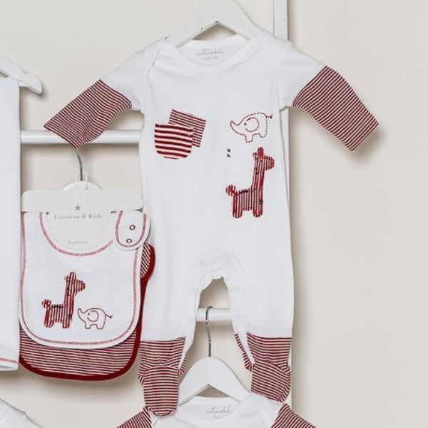 Emotion & Kids | Red & White Safari Footed Outfit