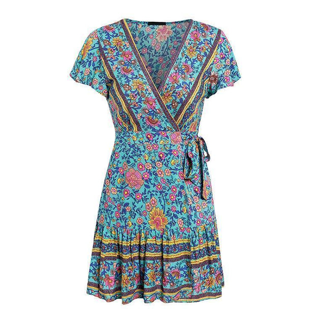 Simple V Collar Floral Printed Beach Vacation Dress